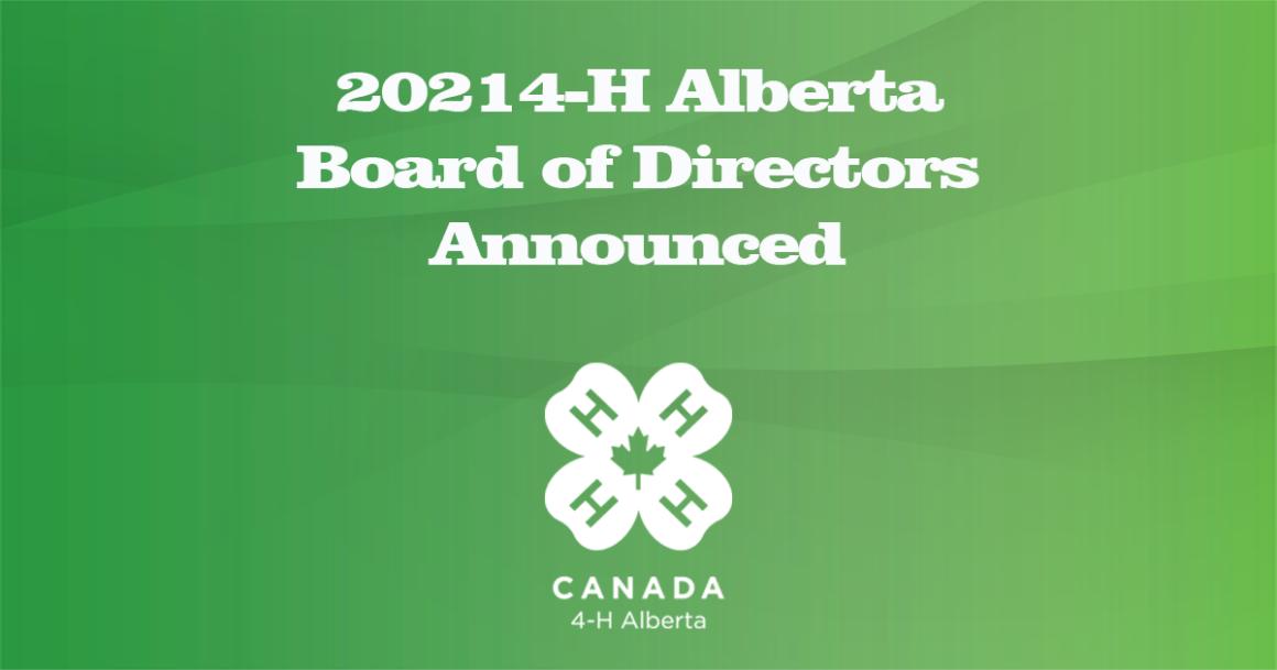 Announcement of new Board of Directors for 4-H Alberta